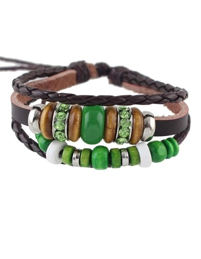 Adjustable Layers Pu Beads Bracelet