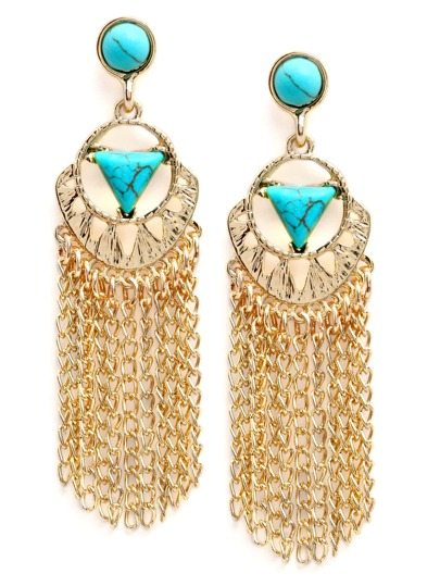 Turquoise Inlay Chain Tassel Earrings