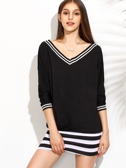 Black Striped V Neck Long Sleeve Dress