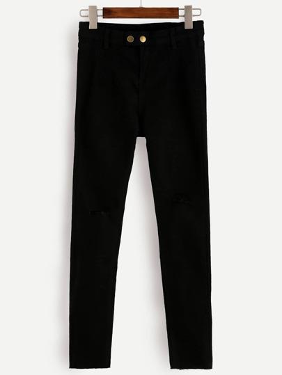 Skinny Jeans mit Knopf - schwarz