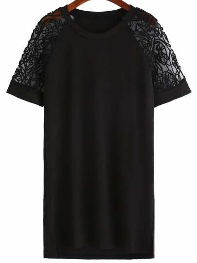 Black Applique Raglan Sleeve Shift Dress