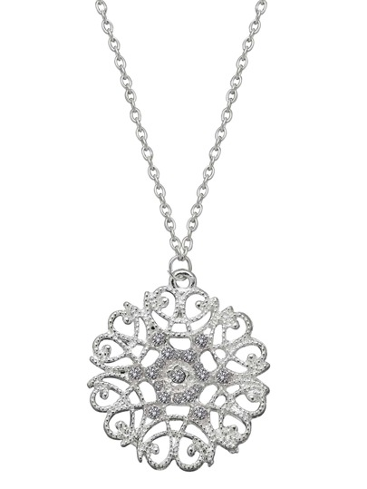 Silver Hollow Flower Rhinestone Pendant Necklace