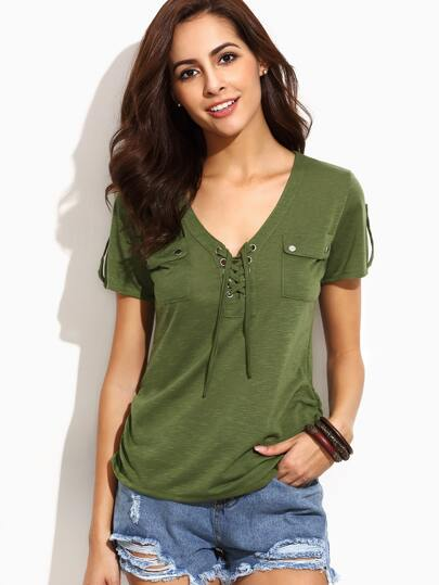 Army Green V Neck Eyelet Lace Up Pockets T-shirt