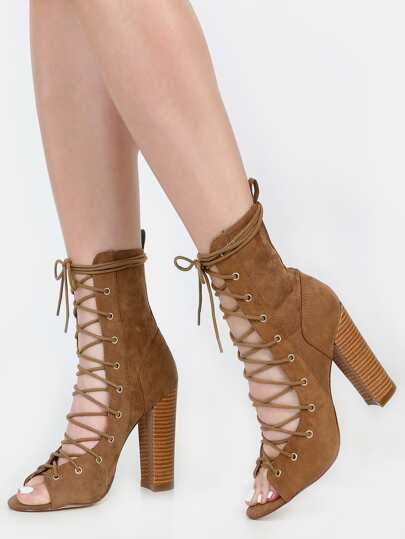 Faux Suede Lace Up Ankle Boots TAUPE