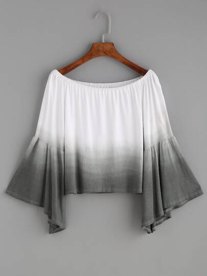 Ombre Boat Neck Fluted Sleeve Crop Top