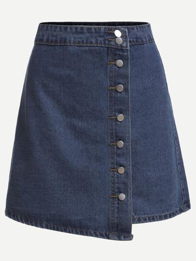 Blue Button Front Wrap Denim Skirt