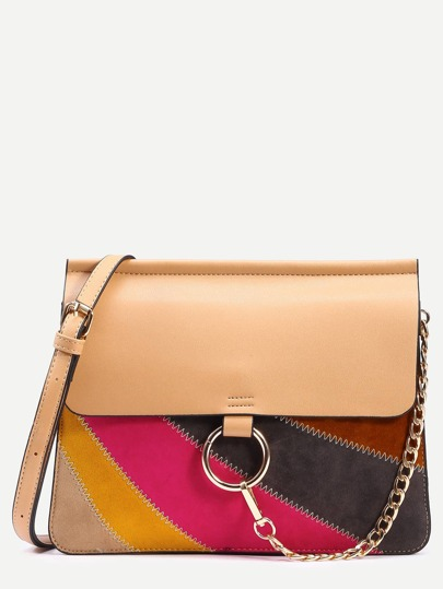 Apricot Ring Chain Closure Patchwork Bag