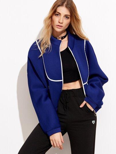 Royal Blue Stand Collar Pocket Jacket