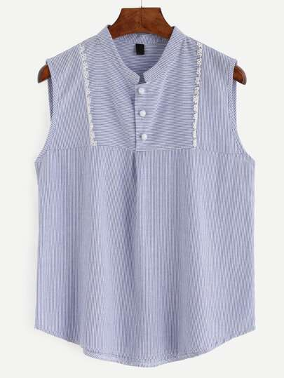 Blue Striped Button Front Lace Trim Sleeveless Blouse