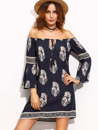 Multicolor Print Tie Tassel Off The Shoulder Dress
