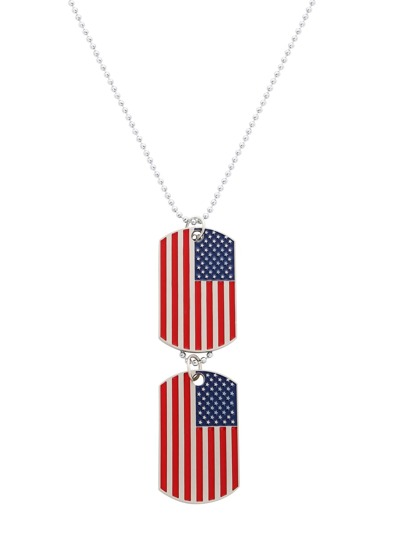 Silver Enamel Red Stripe USA Flag Pendant Necklace