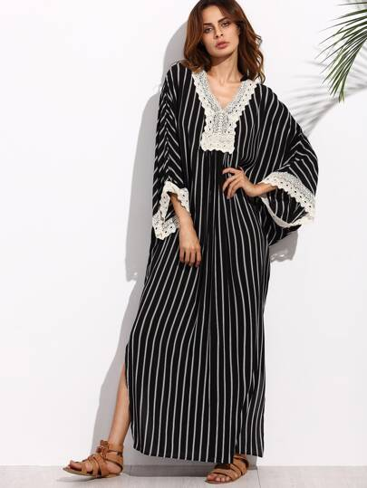 Black and White Stripe Appliques V Neck Maxi Dress