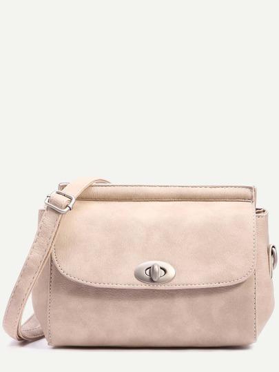 Beige Turnlock Closure Structured Flap Bag