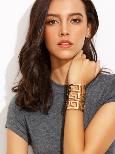 Gold Hollow Maze Shaped Cuff Bracelet