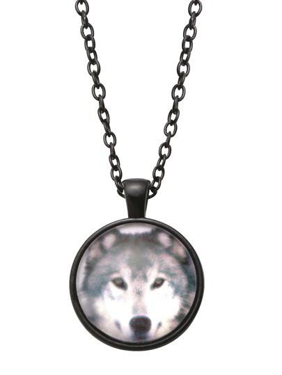 Black Wolf Print Glass Pendant Necklace