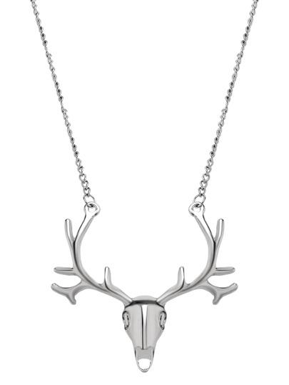 Collier motif tête de cerf - argenté