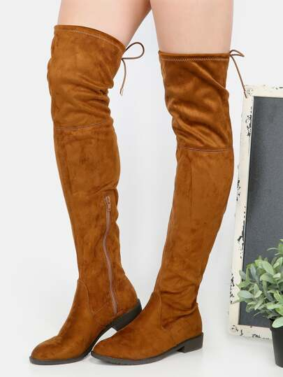 Faux Suede Thigh High Boots RUST