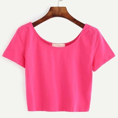 Hot Pink Scoop Neck Crop T-shirt