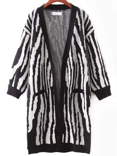 Black And White Printed Elastic Cuff Cardigan