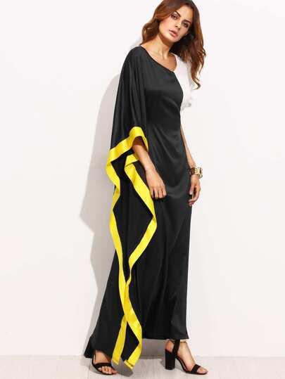 Vestido escote V asimétrico maxi