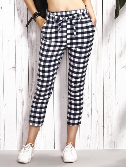 Black Checkerboard Self Tie Crop Skinny Pants