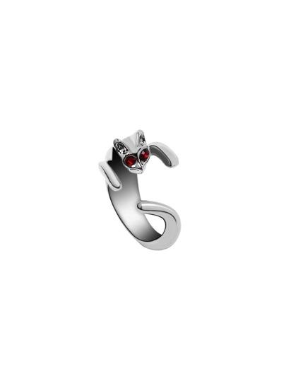 Silver Red Gemstone Eye Cat Open Ring
