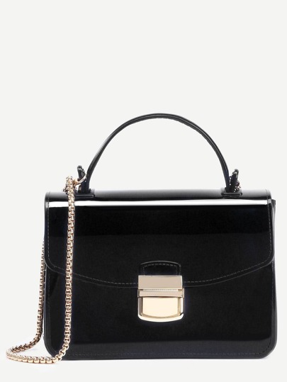 Black Pushlock Closure Box Handbag With Chain