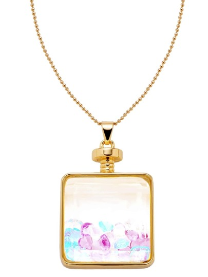 Gold Glass Pendant With Rhinestone Necklace