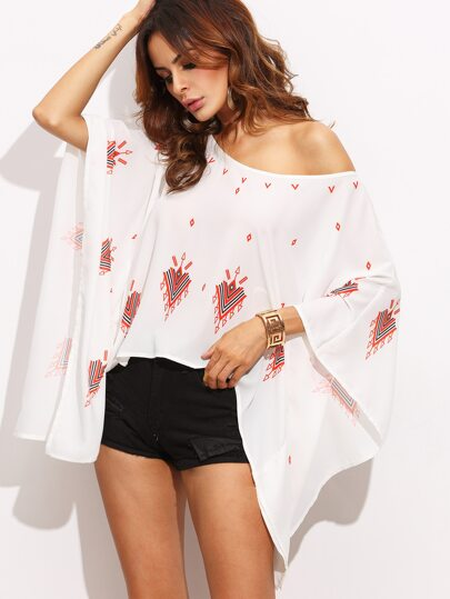Multicolor Print Batwing Sleeve Asymmetrical Blouse