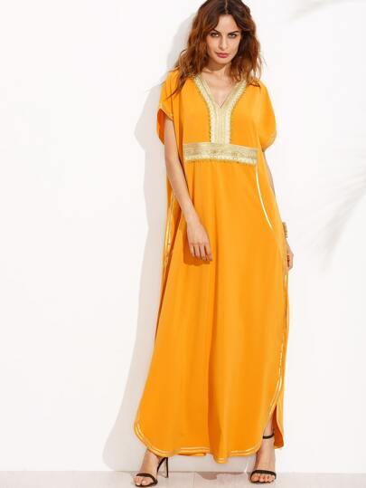 Orange Appliques V Neck Short Sleeve Maxi Dress