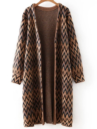Brown Long Sleeve Chervon Print Cardigan