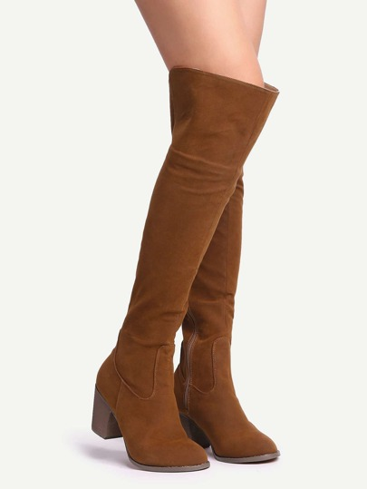 Brown Suede Over The Knee Zipper Boots