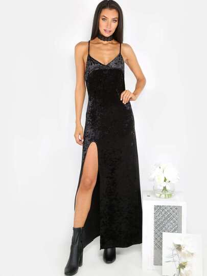 Crushed Velvet Maxi Dress BLACK