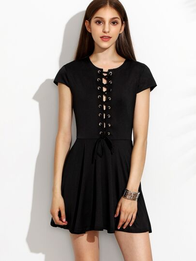 Black Eyelet Lace Up Dress