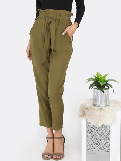 Highwaist Ruffle Tapered Pants OLIVE