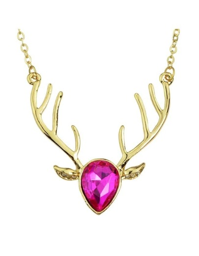 Hotpink Rhinestone Deer Pendant Necklace