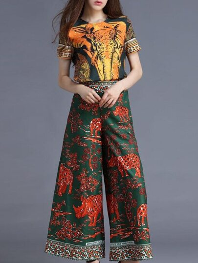 Multicolor Elephant Top With Rhinoceros Print Pants