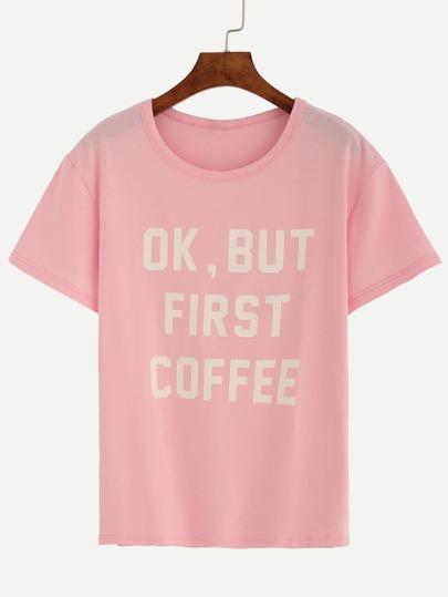 Pink Letter Print Drop Shoulder T-shirt