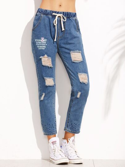 Blue Ripped Printed Drawstring Jeans