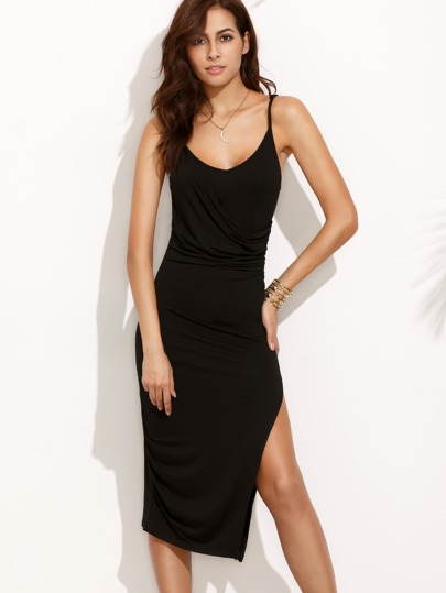 Black Split Side Spaghetti Strap Midi Dress