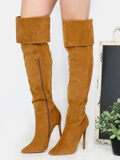 Stiletto Pointy Toe Over the Knee Boots CHESTNUT