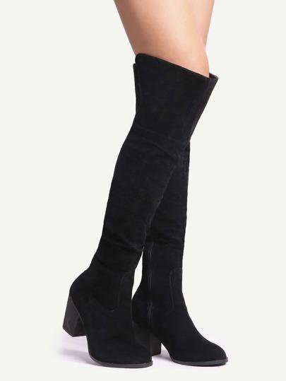 über den Knie Stiefel mit Quaste Reißverschluss -schwarz
