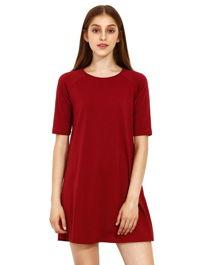 Burgundy Round Neck Inch Half Sleeve Loose Dress
