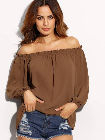 Brown Ruffle Off The Shoulder Long Sleeve Blouse