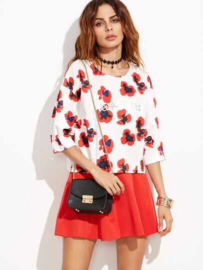 Red Round Neck Printed T-shirt With Skirt
