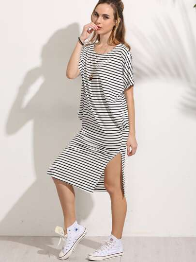 White Striped Side Slit Dress