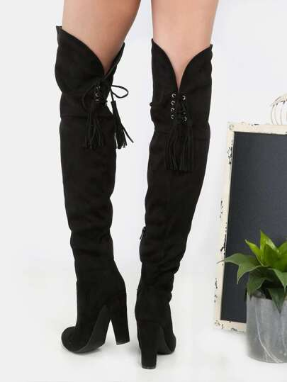 Thigh High Fringe Suede Boots BLACK