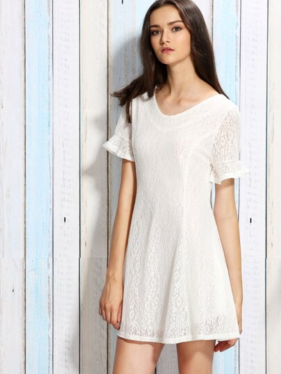 White Ruffle Sleeve Bow Back Lace Dress