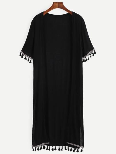 Black Embroidered Tape Tassel Trim Long Kimono