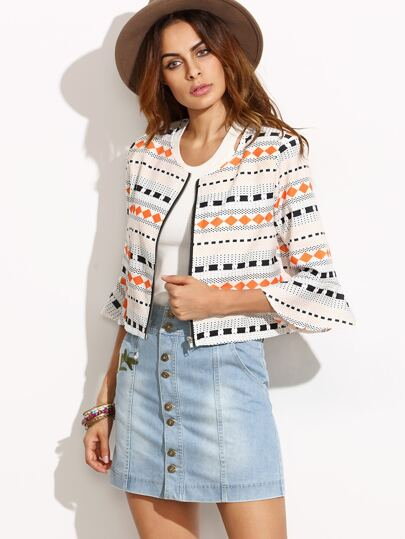 Multicolor Bell Sleeve Zipper Crop Jacket
